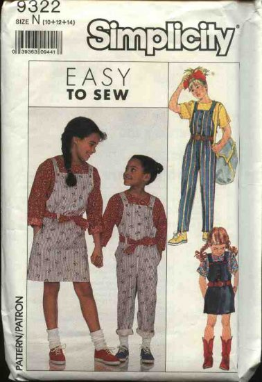Simplicity Sewing Pattern 9322 Girls Size 10-14 Easy Jumper Overalls Short Long Sleeve Pullover Top