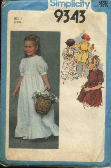 Retro Simplicity Sewing Pattern 9343 Girl's Size 4 Long or Short Full Skirted Dress