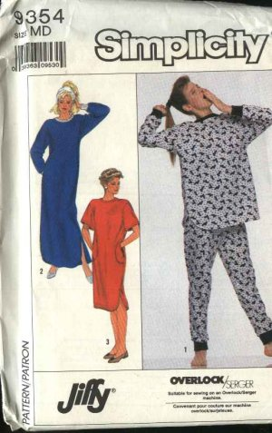 Simplicity Sewing Pattern 9354 Misses Size 14-16 Nightgown Pajamas Pullover Top Long Pants