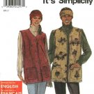 "Simplicity Sewing Pattern 9403 Misses Mens Chest Size 34-44"" Button Front  Vest Headband"