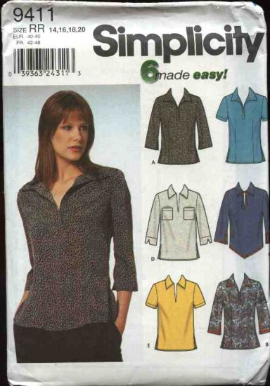 Simplicity Sewing Pattern 9411 Misses Size 6-12 Easy Pullover Casual Tops