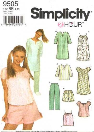 Simplicity Sewing Pattern 9505 Misses Size 18-24 Nightgown Pajamas Pullover Tops Pants Shorts