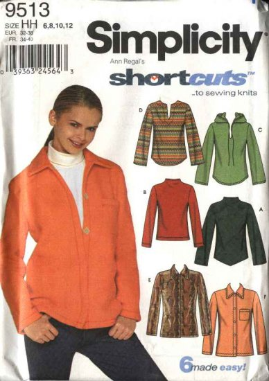 Simplicity Sewing Pattern 9513 Misses Size 6-12 Pullover Button Front Long Sleeve Hooded Knit Tops
