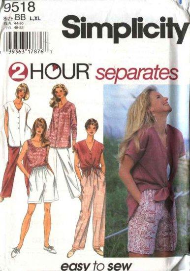 Simplicity Sewing Pattern 9518 Misses Size 6-16 Easy Wardrobe Tank Top Shell Shorts Pants Shirt