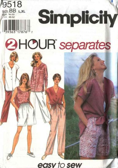 Simplicity Sewing Pattern 9518 Misses Size 18-24 Easy Wardrobe Tank Top Shell Shorts Pants Shirt