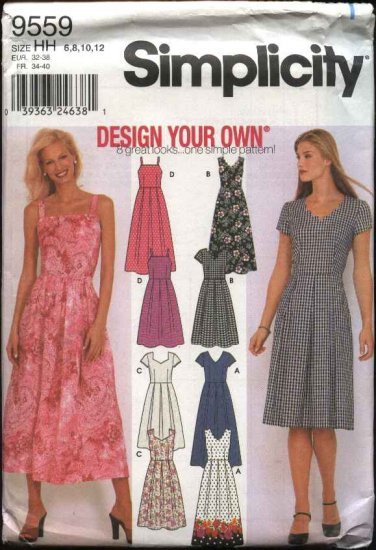 Simplicity Sewing Pattern 9559 Misses Size 6-12 Summer Sleeveless Short Sleeve Dresses