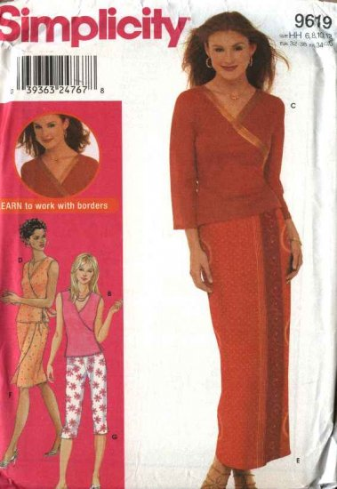 Simplicity Sewing Pattern 9619 Misses Size 6-12 Wrap Front Top Skirt Cropped Pants