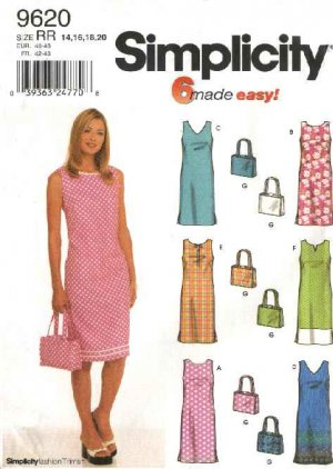 df5879ea44a Simplicity Sewing Pattern 9620 Misses Size 14-20 Easy Sleeveless Straight Summer  Dress Purse