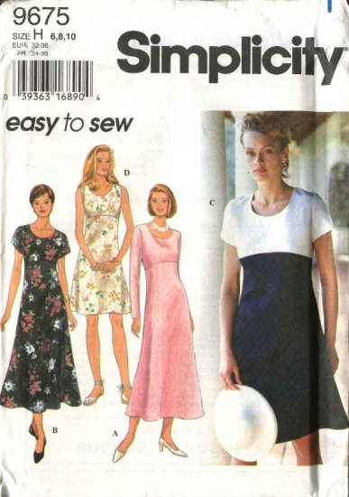Simplicity Sewing Pattern 9675 Misses Size 6-8-10 Easy Short Long Dresses