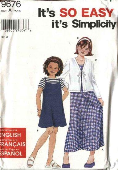 Simplicity Sewing Pattern 9676 Girls Size 7-16 Easy Summer Dress Jumper Knit Cardigan Headband