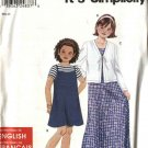 Simplicity Sewing Pattern 9676 Girls Size 7-16 Easy Summer Dress Jumper Knit Cardigan Headband
