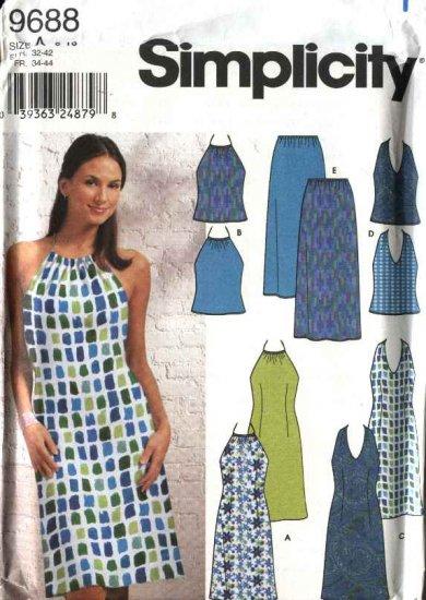 Simplicity Sewing Pattern 9688 Misses Size 6-16 Sundress Summer Halter Dresses Top Long Skirt