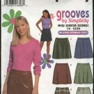 Simplicity Sewing Pattern 9705 Junior size 7/8-15/16 Fitted Pleated Mini-Skirts