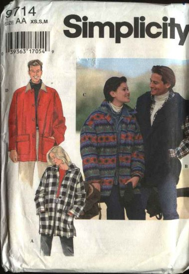 "Simplicity Sewing Pattern 9714 Misses Mens Unisex Chest Size 42-48"" Hooded Button Front Jacket"