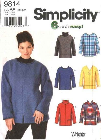 Simplicity Sewing Pattern 9814 Misses Size 6-16 Easy Pullover Long Sleeve Top