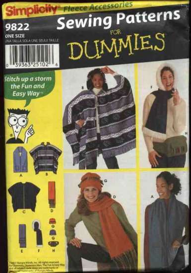 Simplicity Sewing Pattern 9822 One Size Easy Fleece Hooded Poncho Scarf Hat Wrap Bag