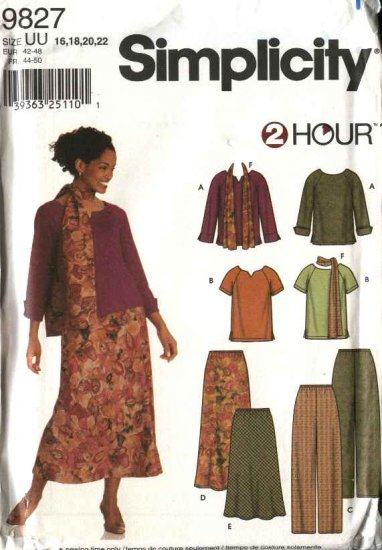 Simplicity Sewing Pattern 9827 Misses Size 16-22 Pullover Knit Tops Pull On Pants Bias Skirt Scarf