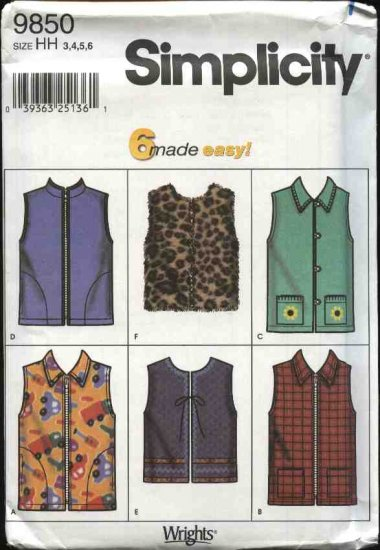 Simplicity Sewing Pattern 9850 Boys Girls Size 3-6 Easy Zipper Front Vest