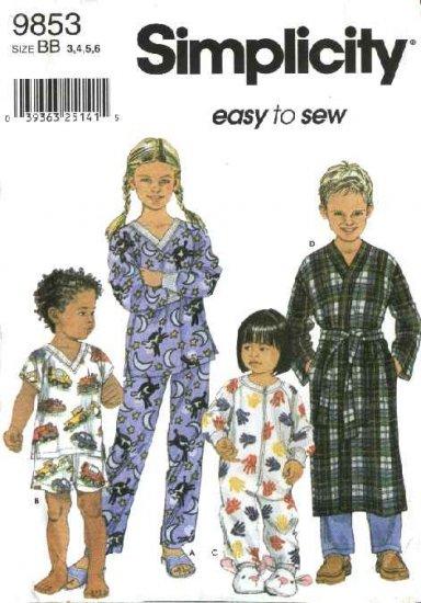 Simplicity Sewing Pattern 9853 Boys Girls Size 3-6 Pajamas Top Pants Shorts Zipper Front Sleeper
