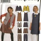 Simplicity Sewing Pattern 9855 Girls Size 7-16 Wardrobe Pants Skirt Jumper Vest Jacket