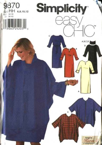 Simplicity Sewing Pattern 9870 Misses Size 6-12 Easy Pullover Dress  Cape