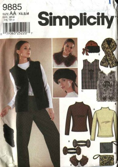 Simplicity Sewing Pattern 9885 Misses Size 6-16 Lined Vest Knit Pullover Top Hat Scarf Purse Collar