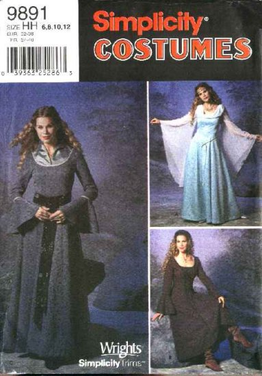 Simplicity Sewing Pattern 9891 Misses Size 6-12 Renaissance Medieval Long Dress Costumes