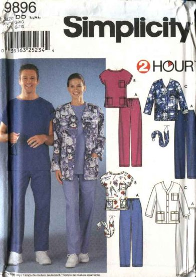 "Simplicity Sewing Pattern 9896 Misses Mens Chest Size 42-48"" Unisex Scrub Uniform Pants Tops Jacket"