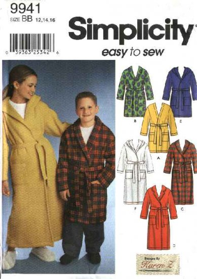 Simplicity Sewing Pattern 9941 Boys Girls Size 12-14-16 Wrap Front Hooded Bath Robes