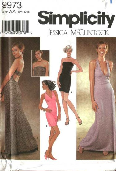 Simplicity Sewing Pattern 9973 Junior Miss Size 3/4-9/10 Knit Evening Dress Formal Prom Gown