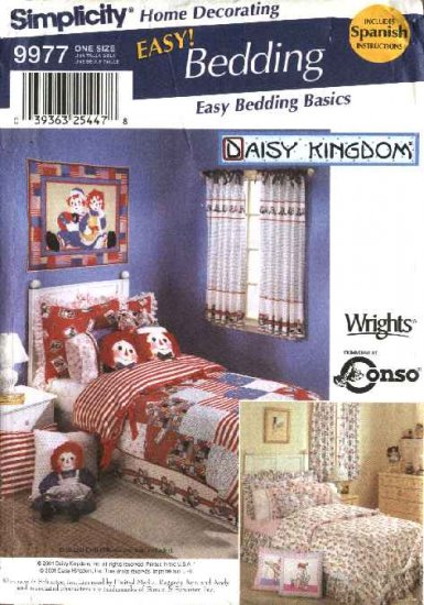 Simplicity Sewing Pattern 9977 Easy Bedding Basics Duvet Cover Bed Skirt Pillow Shams Curtain Panels