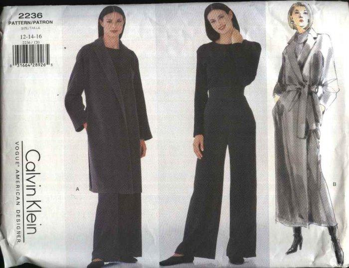 Vogue Sewing Pattern 2236 Misses Size 12-16 Calvin Klein Long Front Wrap Coat Belt Long Pants
