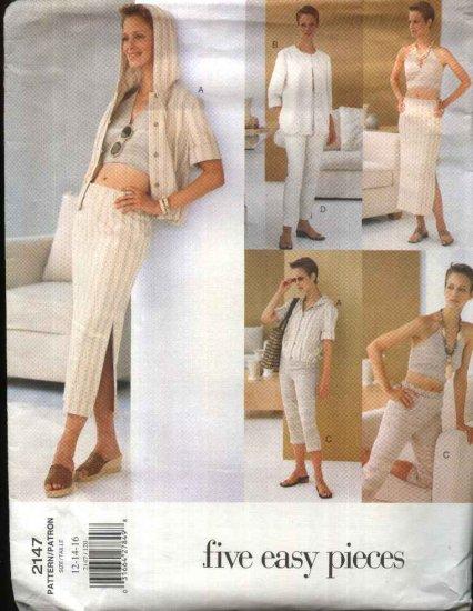 Vogue Sewing Pattern 2147 Misses Size 12-16 Easy Summer Wardrobe Jacket Halter Top Skirt Pants
