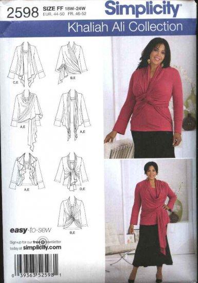 Simplicity Sewing Pattern 2598 Womans Plus Size 26W-32W  Khaliah Ali Knit Top Cardigan-Wrap