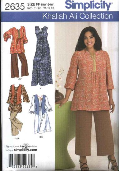 Simplicity Sewing Pattern 2635 Womans Plus Size 18W-24W Wardrobe Dresses Tunic Pants Vest
