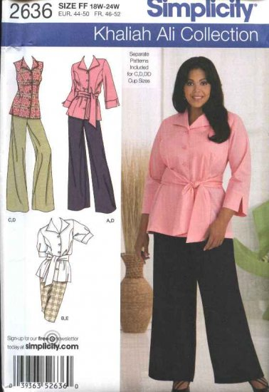 Simplicity Sewing Pattern 2636 Womans Plus Size 18W-24W Khaliah Ali Shirt Pants Skirt Blouse Top