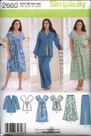 Simplicity Sewing Pattern 2660 Womans Plus Size 20W-28W Wardrobe Dress Top Skirt Pants Jacket