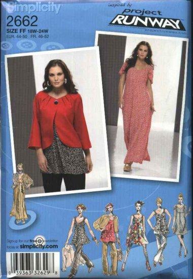 Simplicity Sewing Pattern 2662 Womans Plus Size 18W-24W Dress Top Pants Jacket Tunic