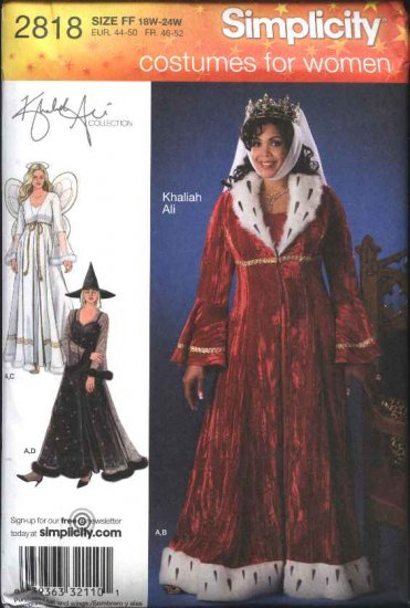 Simplicity Sewing Pattern 2818 Womans Plus Size 18W-24W Khaliah Ali Costumes Fairy Queen Witch
