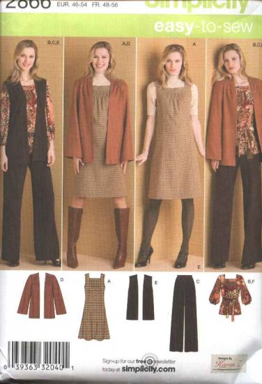 Simplicity Sewing Pattern 2866 Womans Plus Size 20W-28W Easy Wardrobe Jumper Pants Jacket Vest