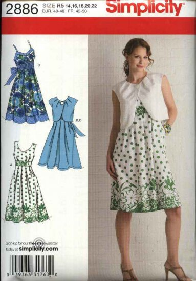Simplicity Sewing Pattern 2886 Misses Size 14-22 Raised Waist Sundress Summer Dress Bolero Shrug