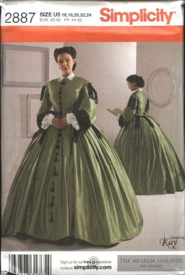 Simplicity Sewing Pattern 2887 Misses Size 16-24 Full Skirt Long Civil War Era Style Dress Costume