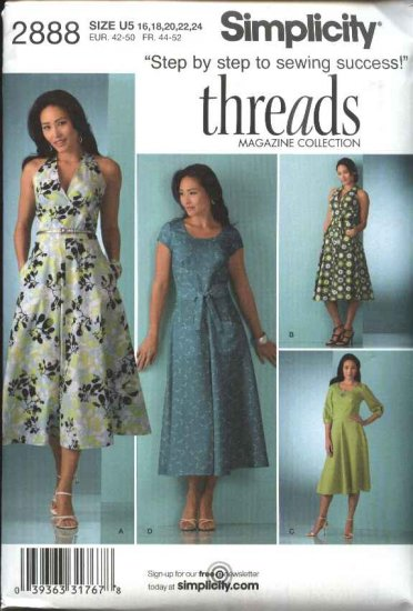 Simplicity Sewing Pattern 2888 Misses Size 16-24 Long Short Dress Bodice Halter variations