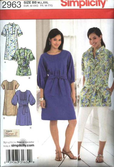 Simplicity Sewing Pattern 2963 Misses Size 14-26 Pullover Loose Fitting Dress Top Tunic Belt
