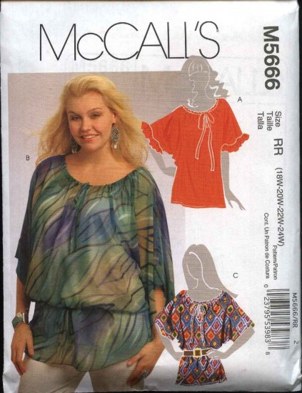 McCall's Sewing Pattern 5666 Womans Plus size 18W-24W Pullover Peasant Top Tunic