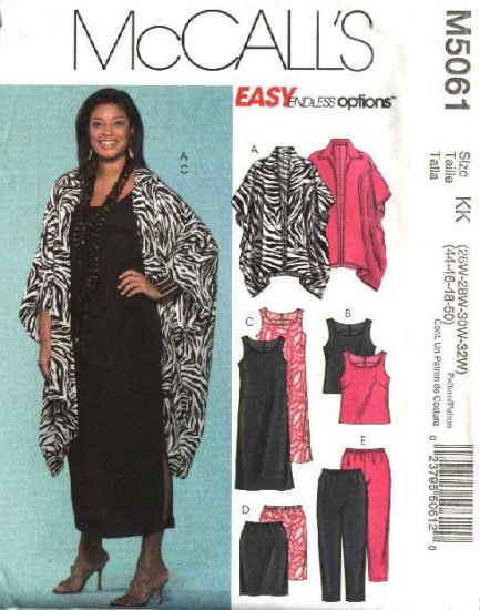 McCall's Sewing Pattern 5061 Womans Plus Size 26W-32W Easy Wardrobe Dress Top Pants Skirt