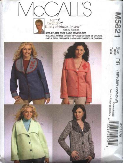 McCall's Sewing Pattern 5821 M5821 Womans Plus Size 18W-24W Button Front Embellished Jackets