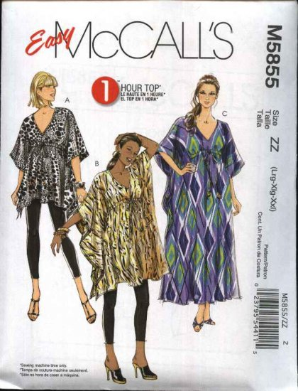 McCall's Sewing Pattern 5855 Misses Size 16-26 Easy Pullover Top Tunic Caftan Kaftan Kurta