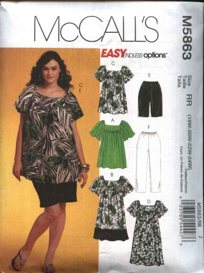 McCall's Sewing Pattern 5863 Womans Plus Size 18W-24W Easy Wardrobe Dress Pants Shorts Top