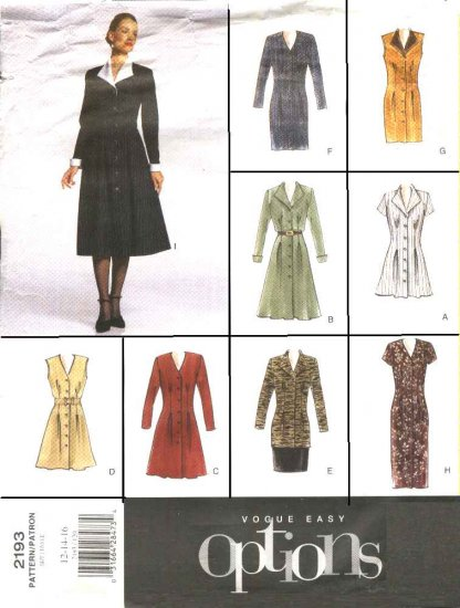 Vogue Sewing Pattern 2193 Misses Size 12-16 Easy Button Front Dress Tunic Straight Skirt